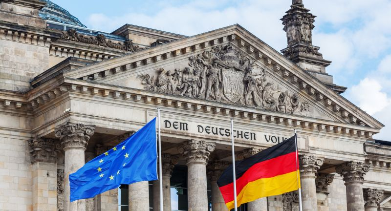 germany, europe, berlin, capital, city, building, old, historic, historical, flag, flags, national, bundestag, reichstag, landmark, travel, tourist, attraction, sky, blue, wind, blowing, pole, eu, union, european