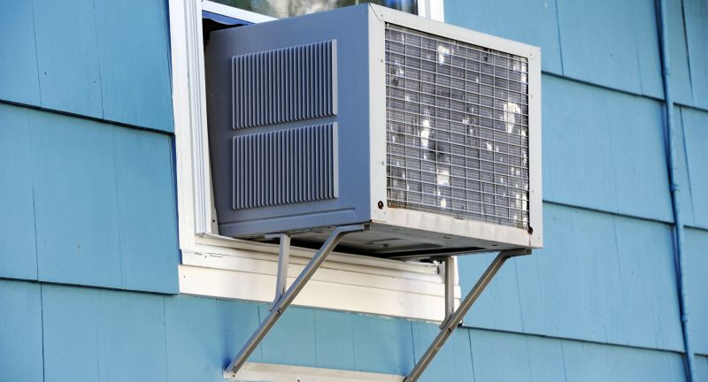 air conditioner, old, cooling, electric, mounted, appliance, summer, conditioner, window, wall, climate, cool, home, house, heat, air, old fashion