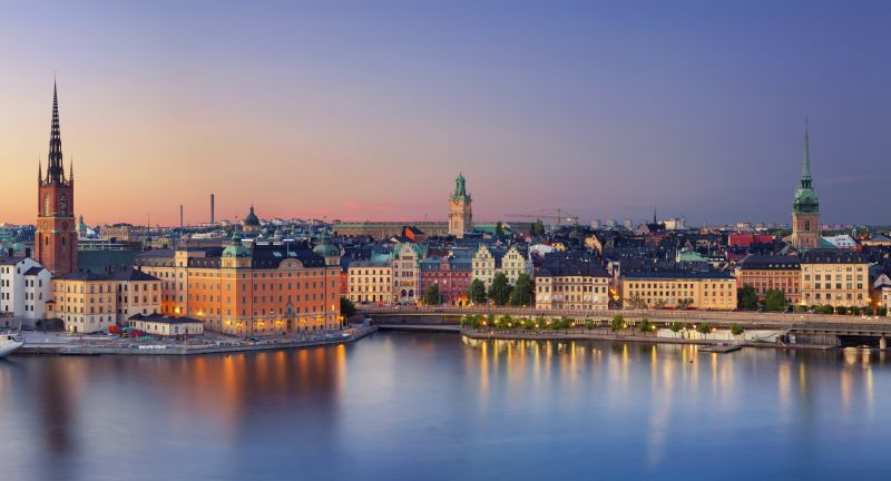 stockholm, sweden, architecture, panoramic, urban skyline, summer, sunset, scandinavia, nordic countries, town, city, urban scene, sky, cityscape, building exterior, outdoors, house, pier, river, reflection, no people, twilight, scenics, blue, national landmark, travel destinations, europe, dusk, tourism, travel, tower, church, nautical vessel, water