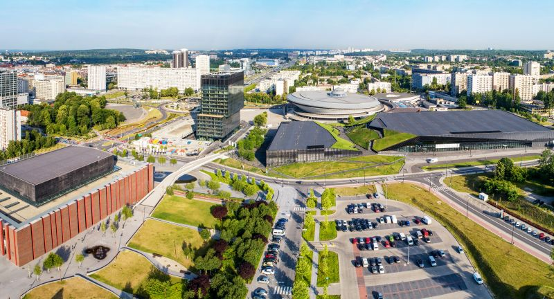 Katowice, Poland, city, center, panorama, wide, aerial, skyline, cityscape, Silesia, architecture, modern, building, NOSPR, concert, hall, spodek, saucer, round, international, conference, congress, arena, sports, entertainment, venue, artificial, canyon, recreation, park, parking lot, cars, street, landmark, travel, Silesian, famous, blocks of flats, morning, spring, summer, roof, landscape, fountain, Polish, Europe, European, sightseeing, tourist attraction, katowice, poland, city, center, panorama, wide, aerial, skyline, cityscape, silesia, architecture, modern, building, nospr, concert, hall, spodek, saucer, round, international, conference, congress, arena, sports, entertainment, venue, artificial, canyon, recreation, park, parking lot, cars, street, landmark, travel, silesian, famous, blocks of flats, morning, spring, summer, roof, landscape, fountain, polish, europe, european, sightseeing, tourist attraction